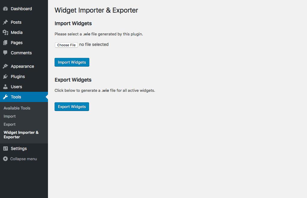 افزونه ایمپورت و ایکسپورت کننده Widget Importer & Exporter