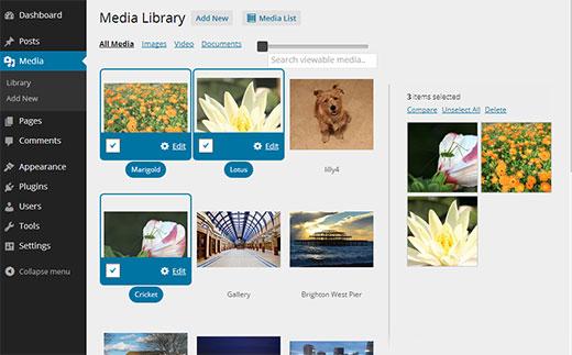 نحوه نمایش شبکه ای تصاویر در رسانه وردپرس